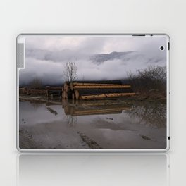 Timber Logs With A Foggy Mountain View Laptop & iPad Skin
