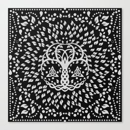 Tree of life with Triquetra Grayscale Canvas Print
