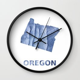 Oregon map outline Blue watercolor Wall Clock