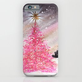 Magical Pink Christmas Tree in Snowy Woods Watercolor iPhone Case