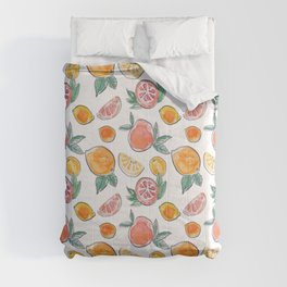 Soft Citrus slices party in my garden_Pink & Teal Green watercolour & ink Comforters