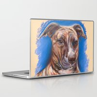 pit bull Laptop & iPad Skins featuring Brindle Pit Bull Portrait by M.M. Anderson Designs