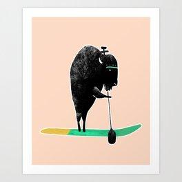 Buffalo on a baddle board in the ocean! Art Print