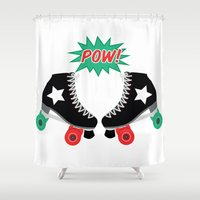 roller derby Shower Curtains featuring Roller Derby POW! by Otterly Design