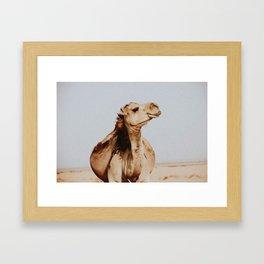 Happy Desert Camel Framed Art Print