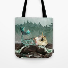 Behold the Mythical Merkitticorn - Mermaid Kitty Cat Unicorn Tote Bag