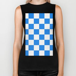 Large Checkered - White and Dodger Blue Biker Tank
