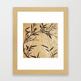 Japanese bamboo buddha wood art Framed Art Print