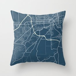 Sherbrooke Blueprint Street Map, Sherbrooke Colour Map Prints Throw Pillow