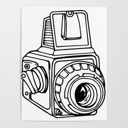 Medium Format SLR Camera Drawing Poster