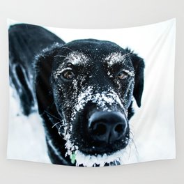 Snow Dog // Cross Country Skiing Black and White Animal Photography Winter Puppy Ice Fur Wall Tapestry