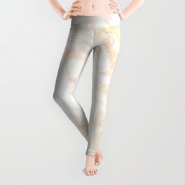 White Marble Pastel Pink and Gold by Nature Magick Leggings