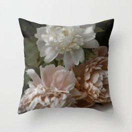 Vintage Pale Pink Peonies Throw Pillow