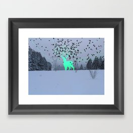 Electric Spirit Deer Framed Art Print