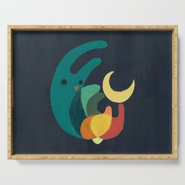 Rabbit and crescent moon Serving Tray