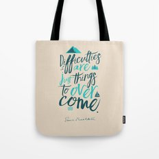 Shackleton Quote on Difficulties - Illustration, typography, interior design, wall decorations, deco Tote Bag