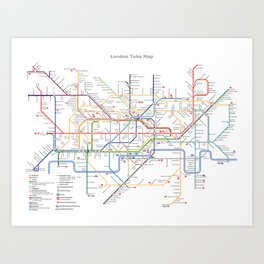 London Britain MAP METRO Art Print