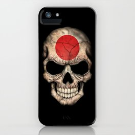 Dark Skull with Flag of Japan iPhone Case