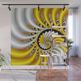 spirals in gold and white Wall Mural