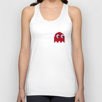 pac man Tank Tops featuring Pac-Man Red Ghost by Psocy Shop