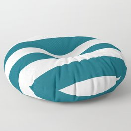 Off White and Tropical Dark Teal Inspired by Sherwin Williams 2020 Trending Color Oceanside SW6496 Hand Drawn Fat Horizontal Line Pattern Floor Pillow
