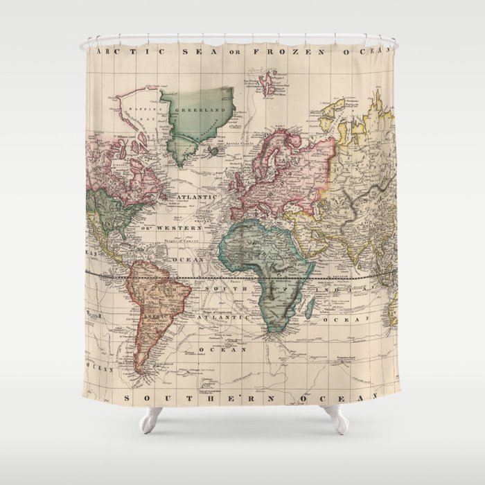 Vintage Map Of The World 1833 Shower Curtain By Bravuramedia