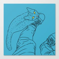Everything I know I learned from my cat (blue) Canvas Print