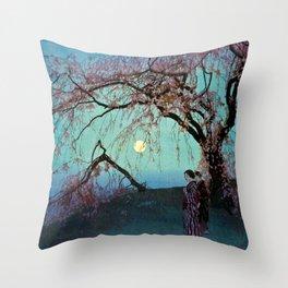 Hiroshi Yoshida Kumoi Cherry Trees Throw Pillow