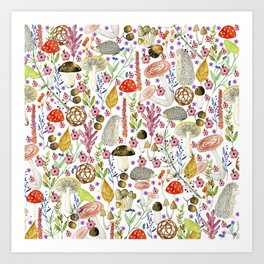 Colorful Autumn woodland animals and foliage pattern Art Print