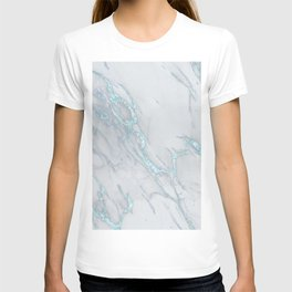 Marble Love Sea Blue Metallic T-shirt