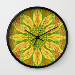 Sun Flower, Sunflower, Bohemian Floral Mandala Pattern Wall Clock