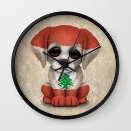 Cute Puppy Dog with flag of Lebanon Wall Clock