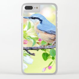 A Bird on a Blossoming Tree Branch Clear iPhone Case