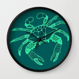 Green Crab Wall Clock