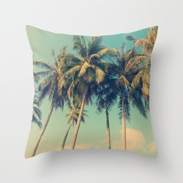 ALOHA - vintage tropical palm trees on the beach Throw Pillow