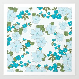 Flowers, Petals, Leaves, Blossoms - Blue Green Art Print
