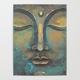 Rusty Golden Copper Buddha Face Watercolor Painting Poster