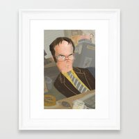 dwight Framed Art Prints featuring Dwight  by Sara Bicknell