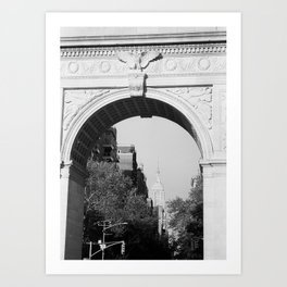 Empire State Building Through Washington Square Arch | New York City | Black and White Photography Art Print