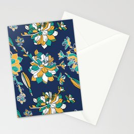 Modren lineart work floral pattern design- green and yellow Stationery Cards