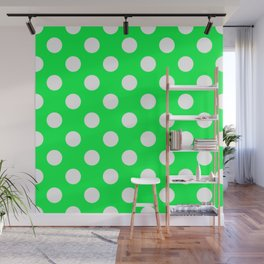 Erin - green - White Polka Dots - Pois Pattern Wall Mural