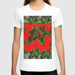 Decorative  Red & Grey Tropical Botanical Green Foliage T-shirt