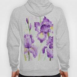 Watercolor Blue Iris Flowers Hoody