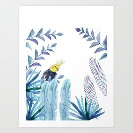 Cockatiel with tropical foliage Art Print