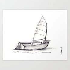 Sailboat, pen and ink Art Print