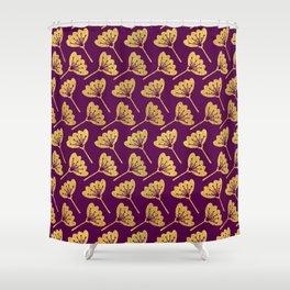 Modern Golden Florals Shower Curtain