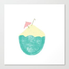 #Coconut #Summer #Cocktail #TropicalDrink #Illustration Canvas Print