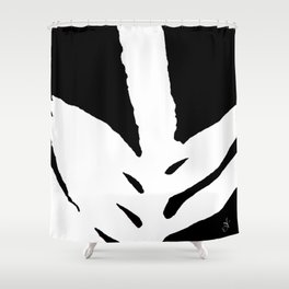 Green Fern White and Black Shower Curtain