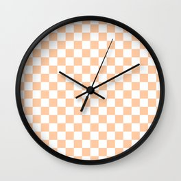 White and Deep Peach Orange Checkerboard Wall Clock
