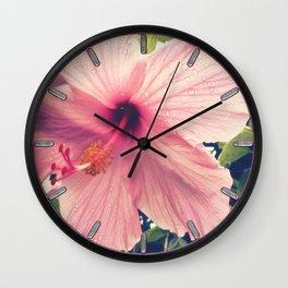 Hibiscus in the Rain Wall Clock